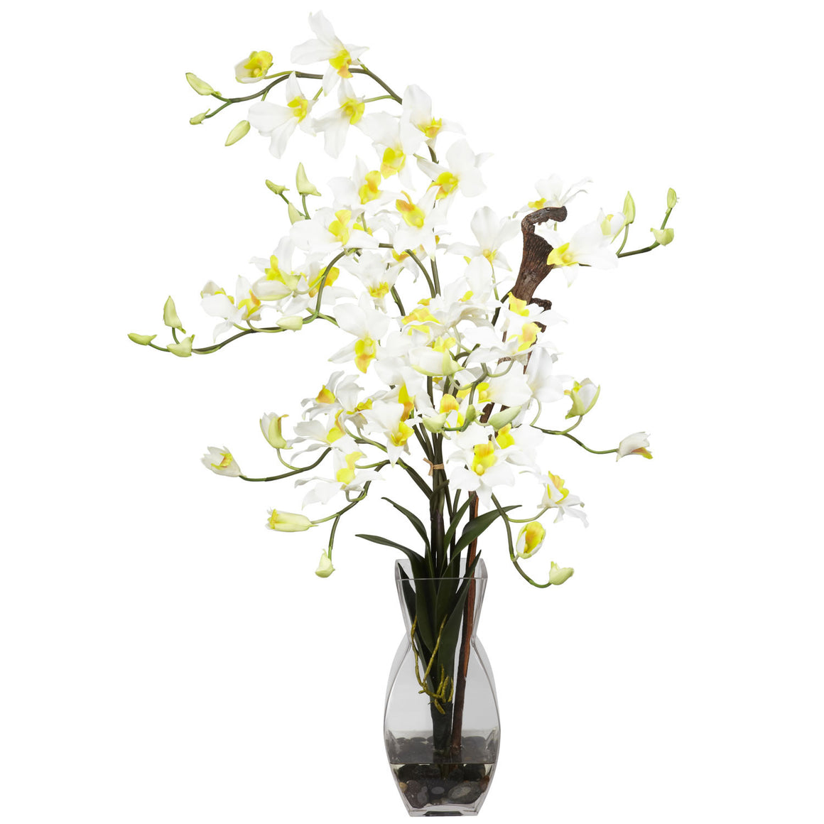 Cream Dendrobium Orchids Silk Flower Arrangement