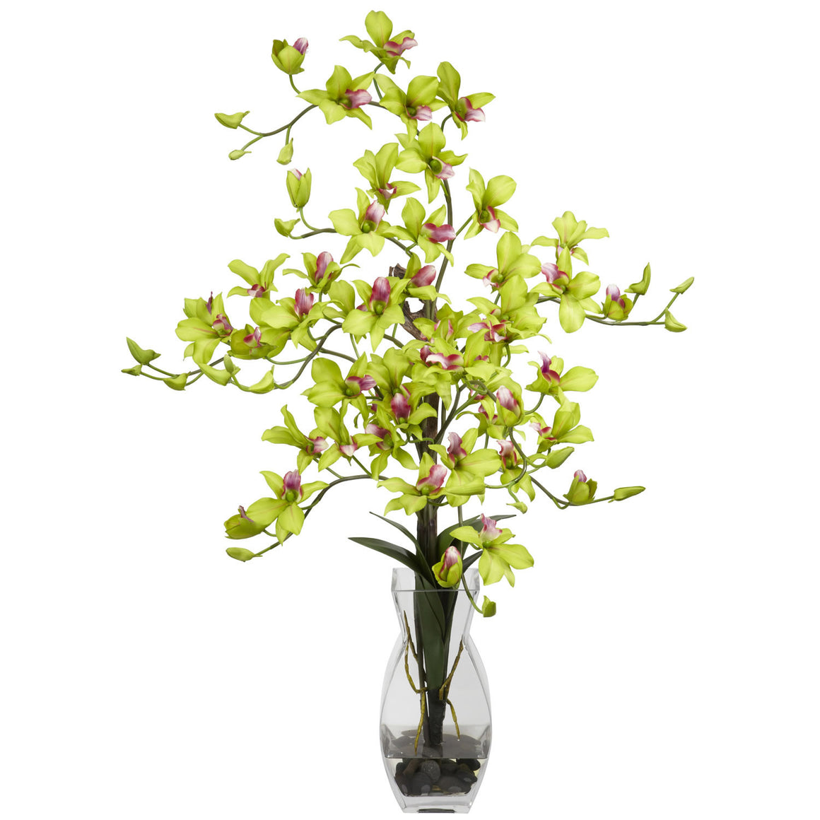 Green Dendrobium Orchids Silk Flower Arrangement