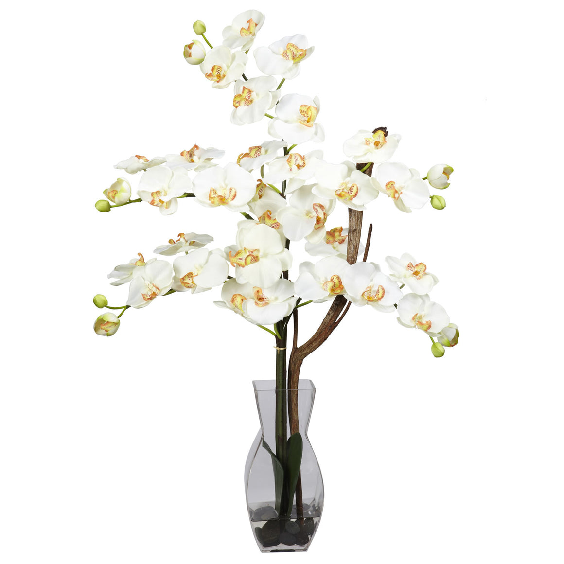 Cream Phalaenopsis with Vase Silk Flower Arrangement