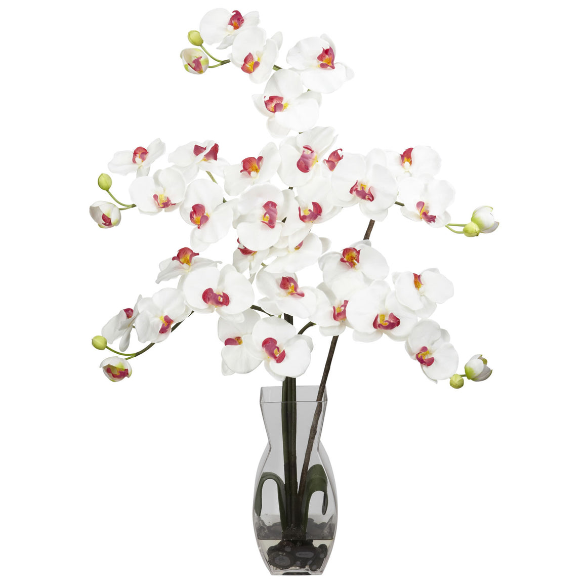 White Phalaenopsis with Vase Silk Flower Arrangement