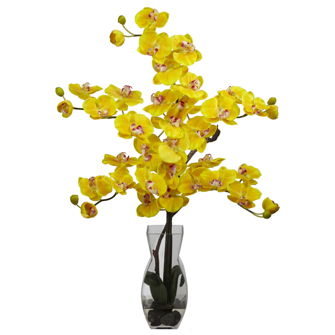 Yellow Phalaenopsis with Vase Silk Flower Arrangement