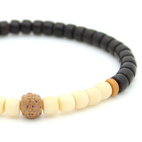 Tagua Nut and Coconut Shell Rudraksha Bracelet Picture 2