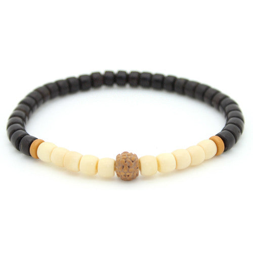 Tagua Nut and Coconut Shell Rudraksha Bracelet