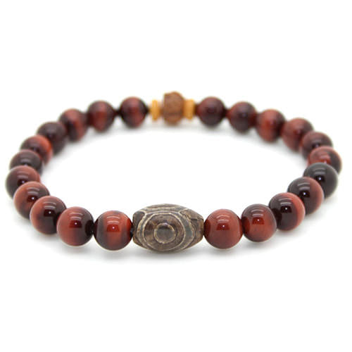 Tiger Eye and Tibetan Agate Yoga Chakra Bracelet