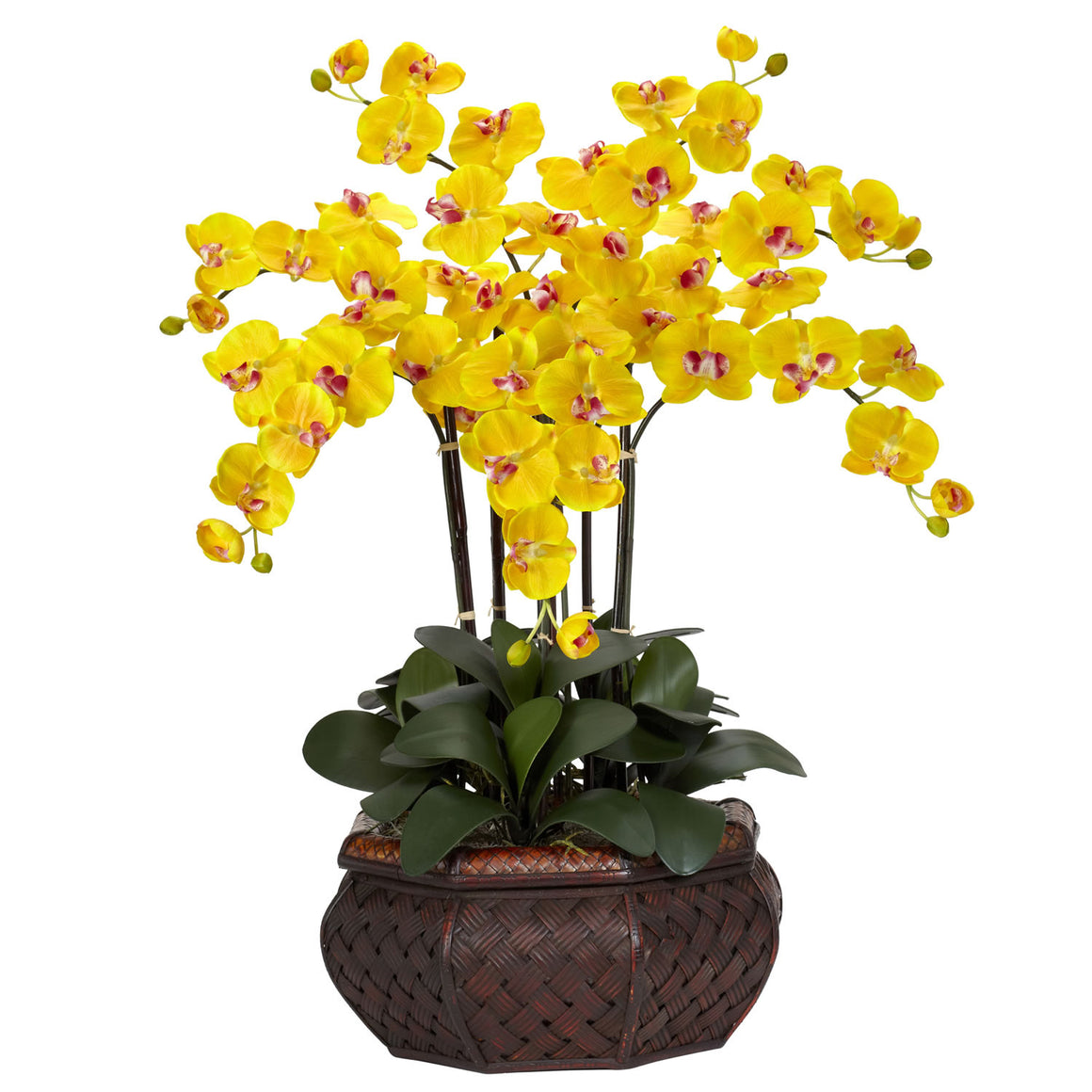 Large Yellow Phalaenopsis Silk Flower Arrangement
