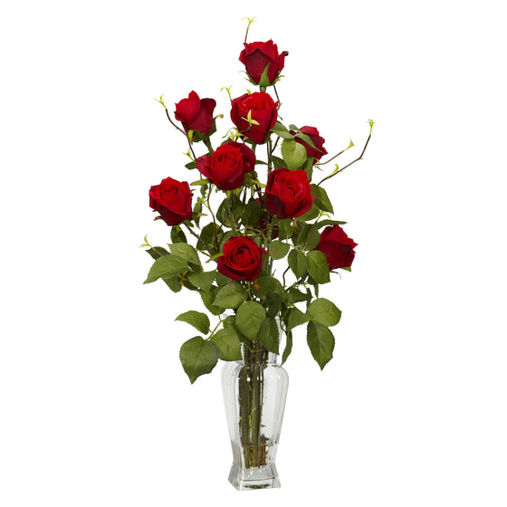 Red Rosebud Silk Flower Arrangement