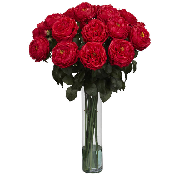 Red Fancy Rose Silk Flower Arrangement