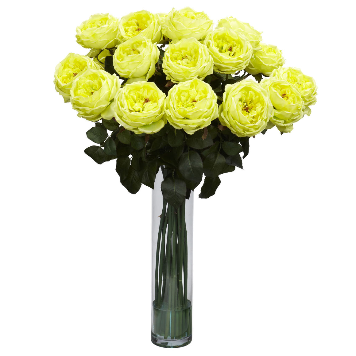 Yellow Fancy Rose Silk Flower Arrangement