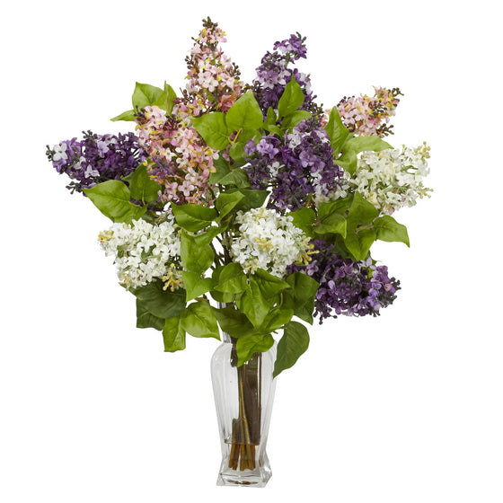 Assorted Color Lilac Silk Flower Arrangement