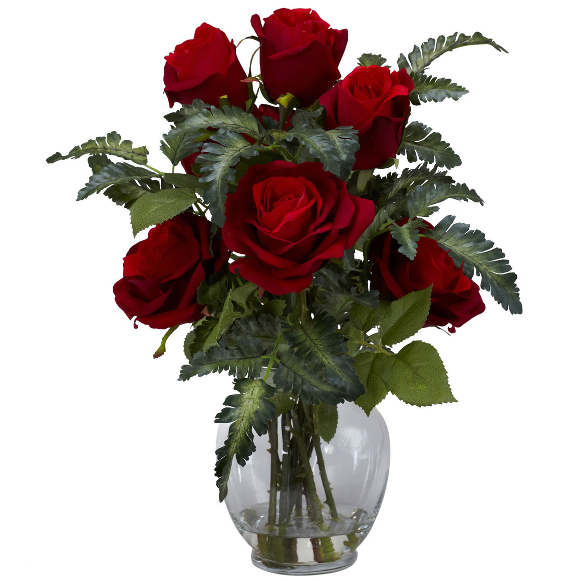 Red Rose With Fern Silk Flower Arrangement