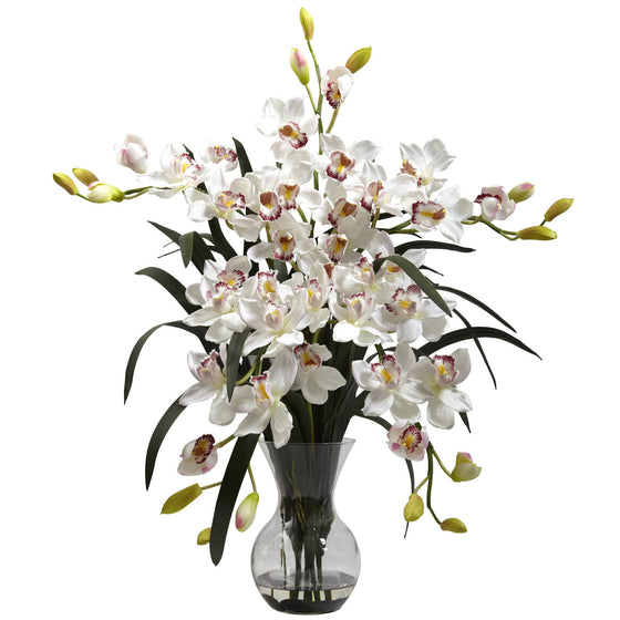 Large White Cymbidium With Vase Arrangement