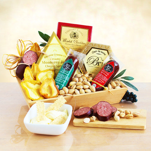 Gourmet Meat & Cheese Wooden Gift Crate