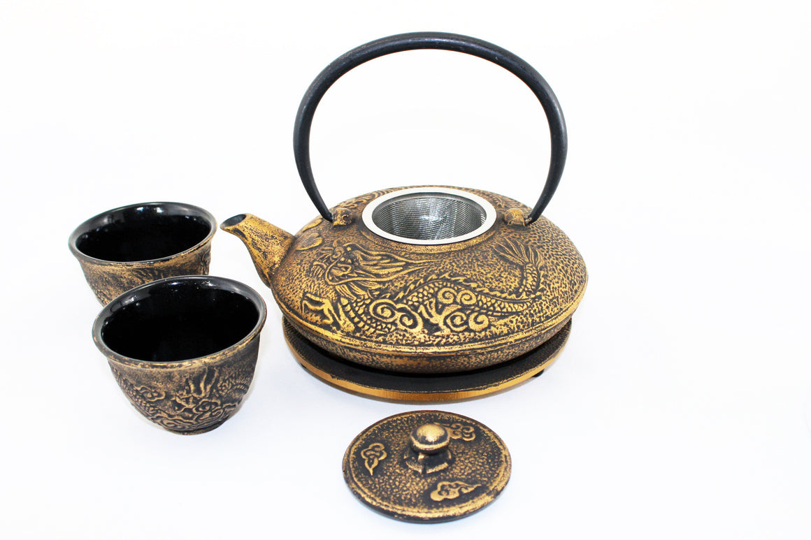 Black with Gold Dragon Phoenix Cast Iron Tea Gift Set