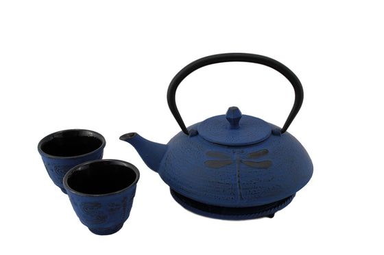 Blue Dragonfly Cast Iron Tea Gift Set