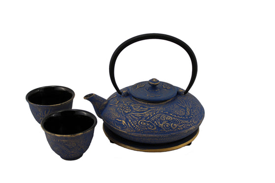 Blue with Gold Dragon Phoenix Cast Iron Tea Gift Set
