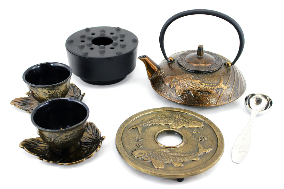 Bronze Japanese Koi Cast Iron Combo Tea Gift Set