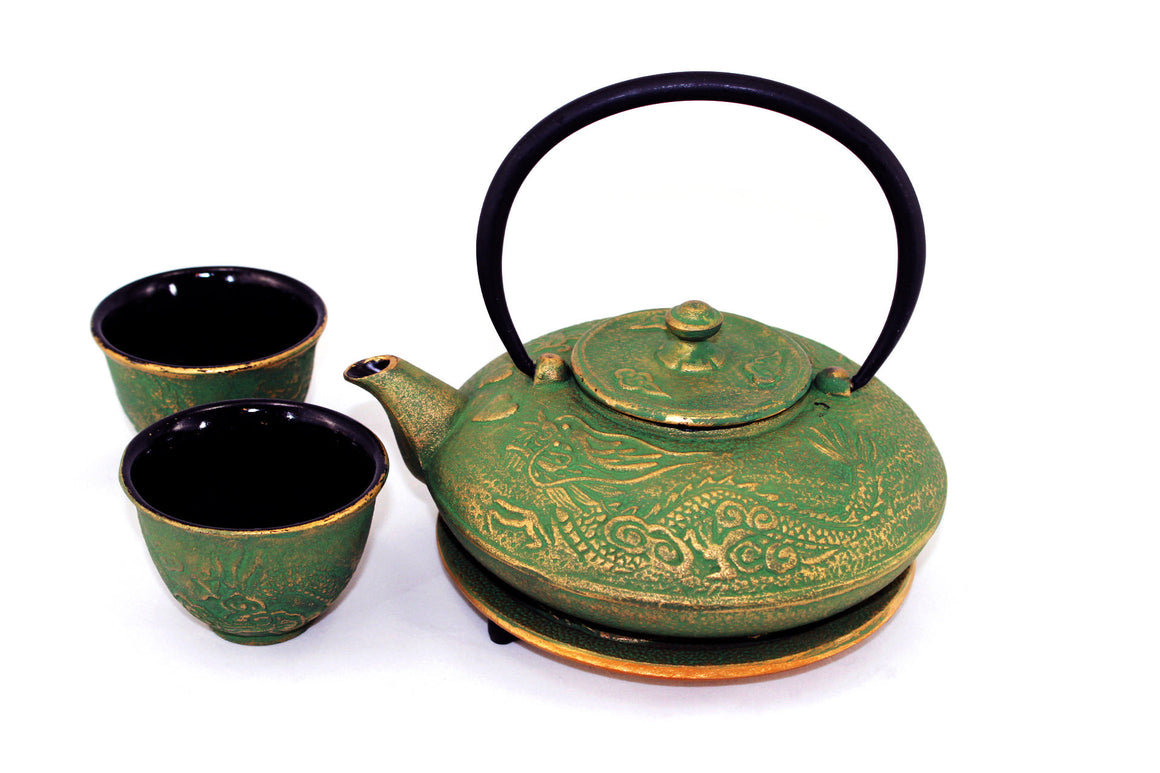 Green and Gold Dragon Phoenix Cast Iron Tea Gift Set