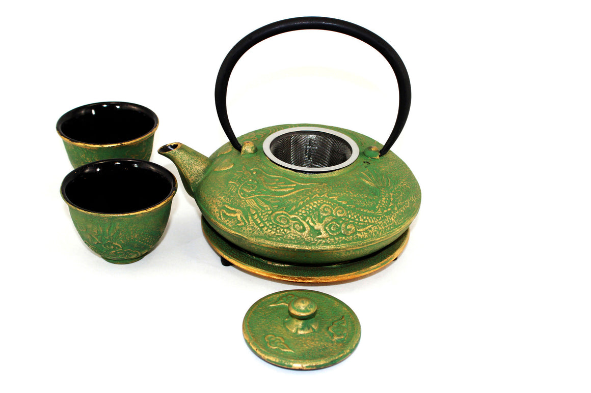 Green and Gold Dragon Phoenix Cast Iron Tea Gift Set Picture 2