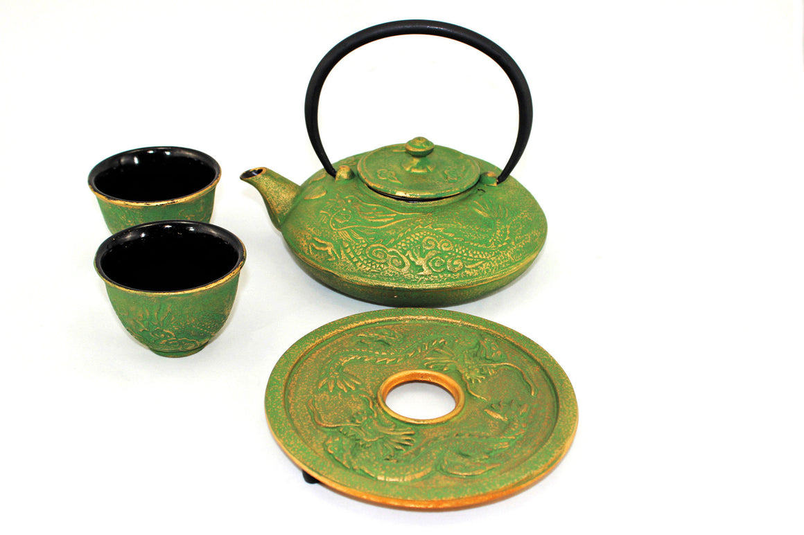 Green and Gold Dragon Phoenix Cast Iron Tea Gift Set Picture 3