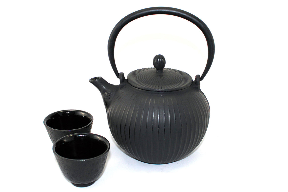 Large Black Globe Cast Iron Tea Gift Set