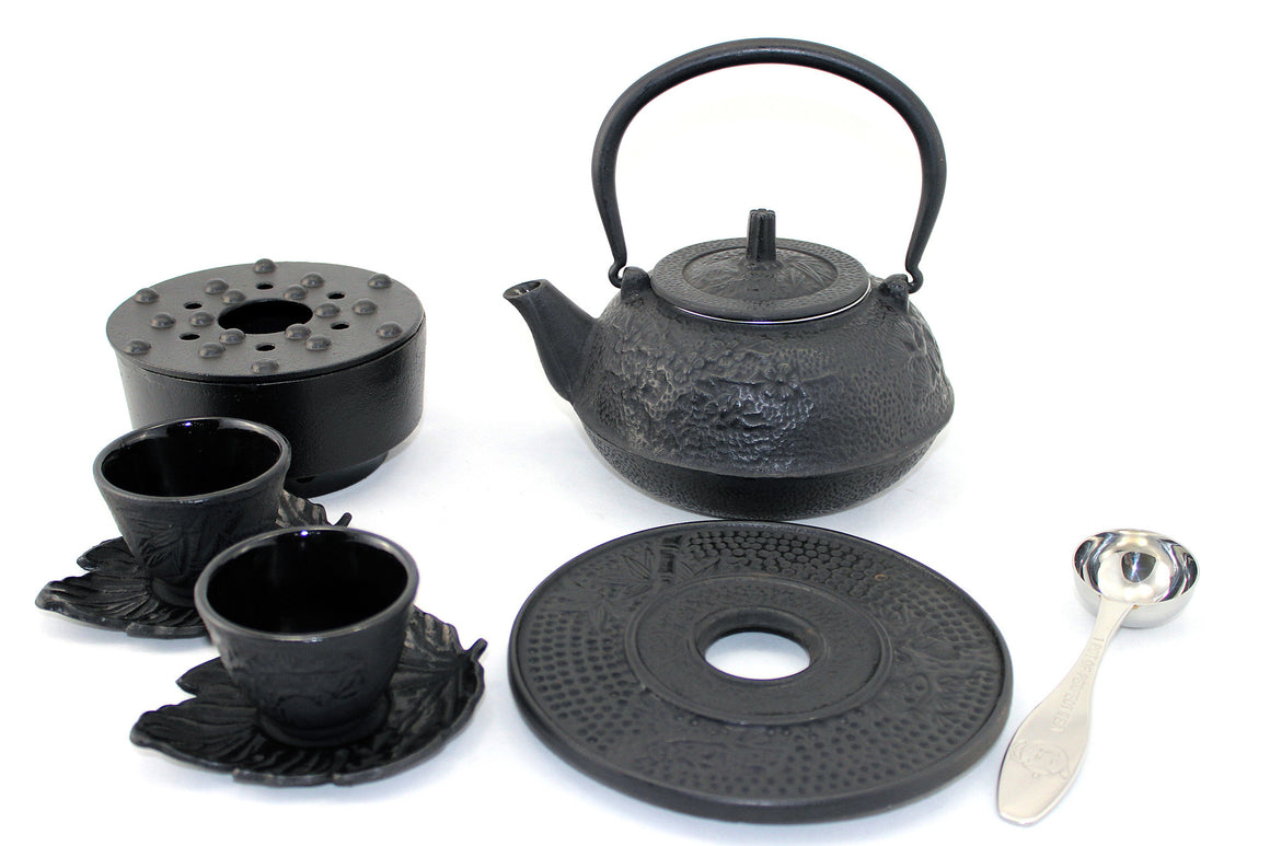 Large Black Bamboo Cast Iron Combo Tea Gift Set