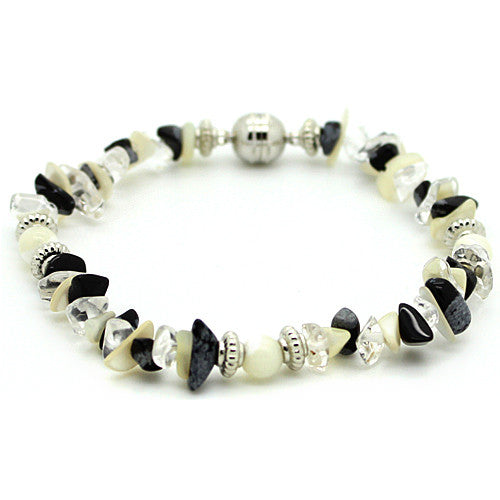 Protection Obsidian, Quartz and Mother of Pearl Bracelet