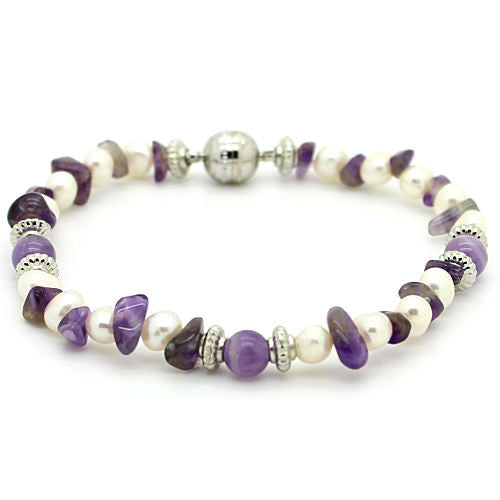 Wellbeing Amethyst and Fresh Water Pearl Bracelet
