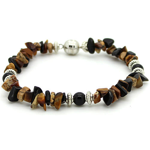 Positivity Tiger Eye and Picture Jasper Bracelet