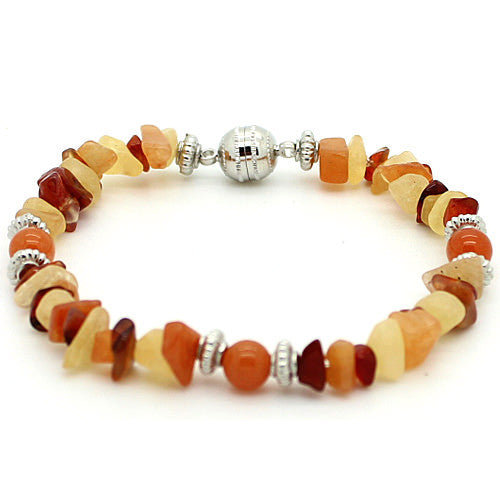 Vitality Red Aventurine and Carnelian and Yellow Jade Bracelet