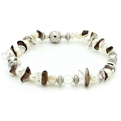 Positivity Smoky Quartz and Fresh Water Pearl Bracelet