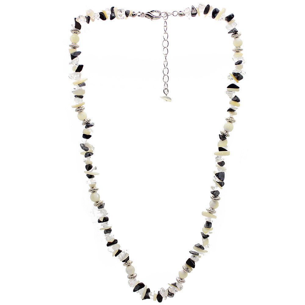 Protection Obsidian and Quartz and Mother of Pearl Necklace Large