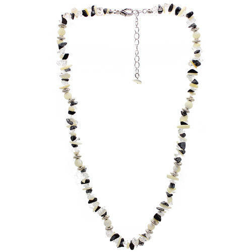 Protection Obsidian and Quartz and Mother of Pearl Necklace