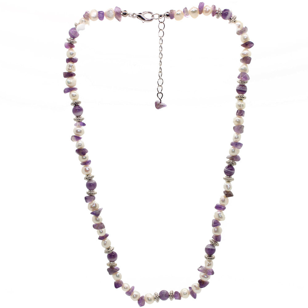 Wellbeing Amethyst and Fresh Water Pearl Necklace Large