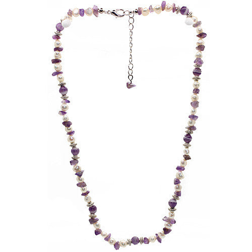 Wellbeing Amethyst and Fresh Water Pearl Necklace