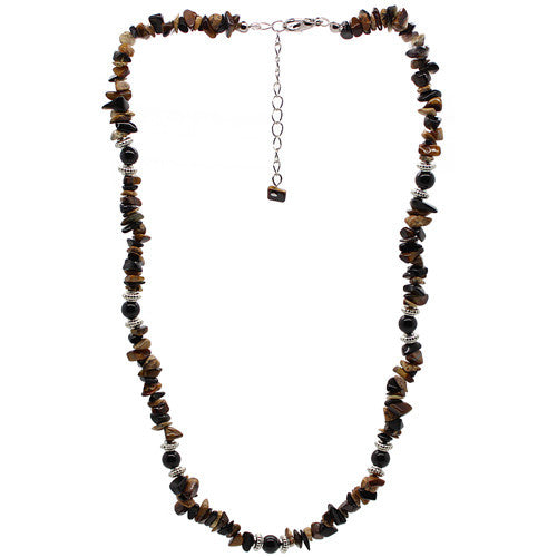 Positivity Tiger Eye and Picture Jasper Necklace