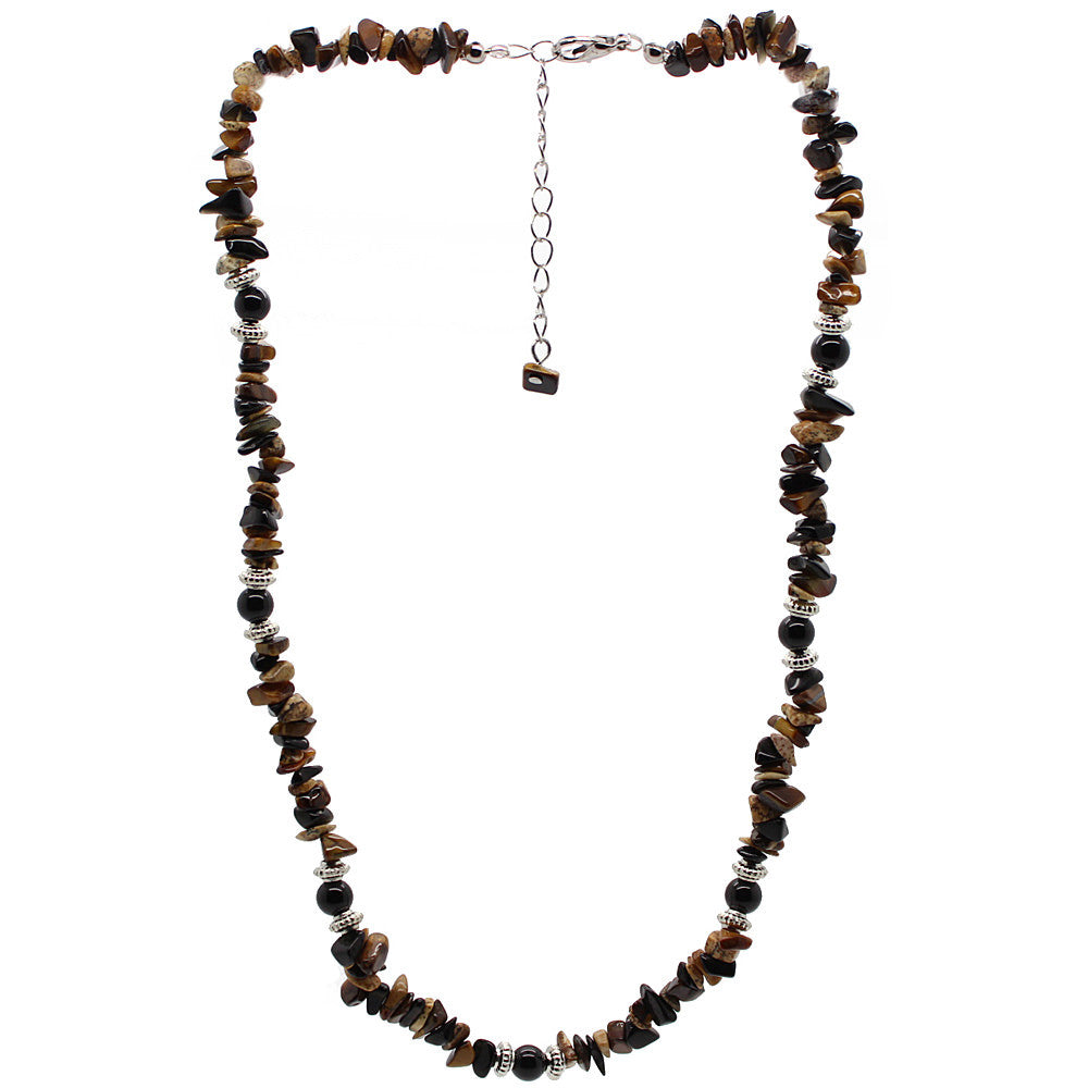 Positivity Tiger Eye and Picture Jasper Necklace Large