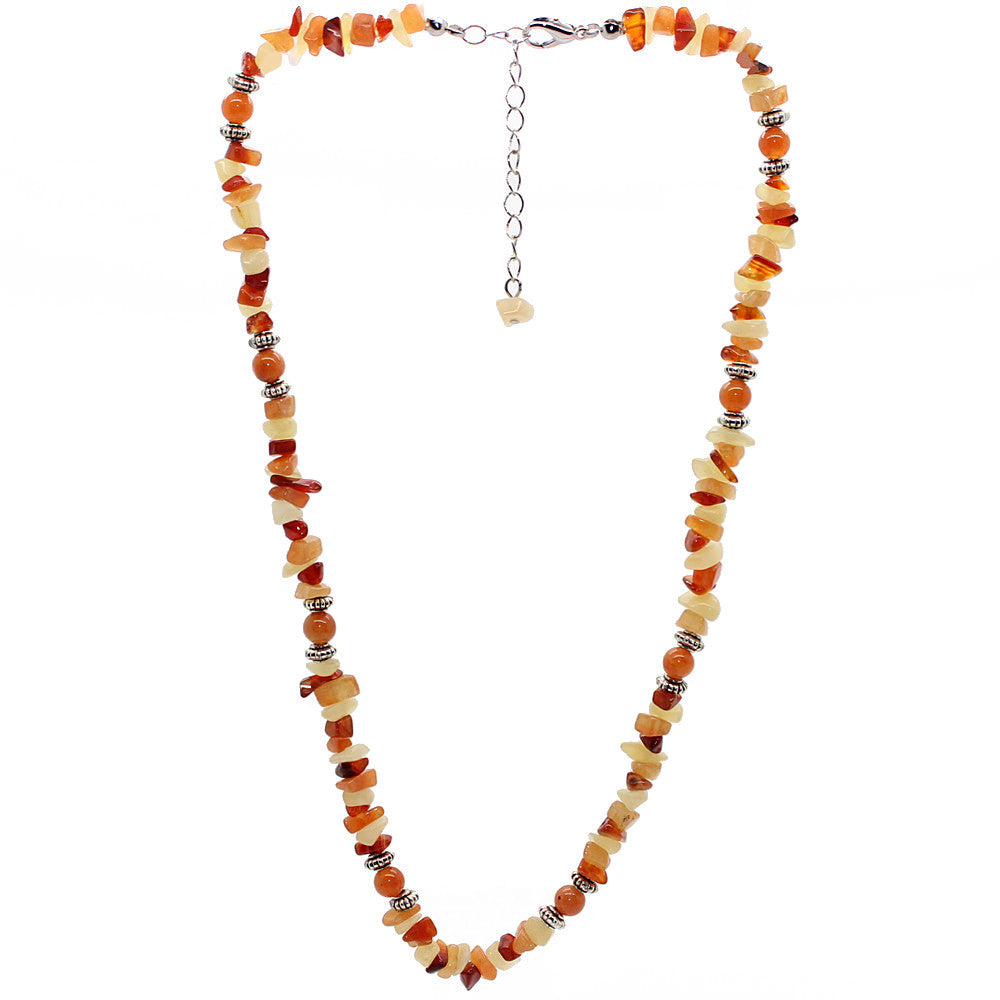Vitality Red Aventurine and Carnelian and Yellow Jade Necklace Large