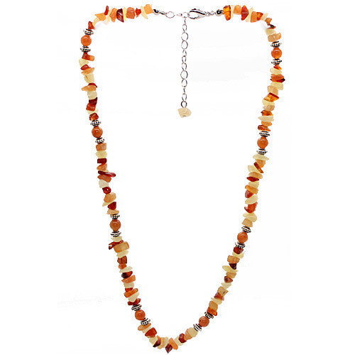Vitality Red Aventurine and Carnelian and Yellow Jade Necklace