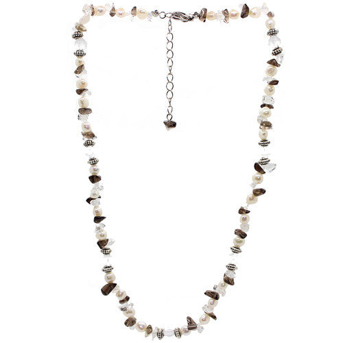 Positivity Smoky Quartz and Fresh Water Pearl Necklace