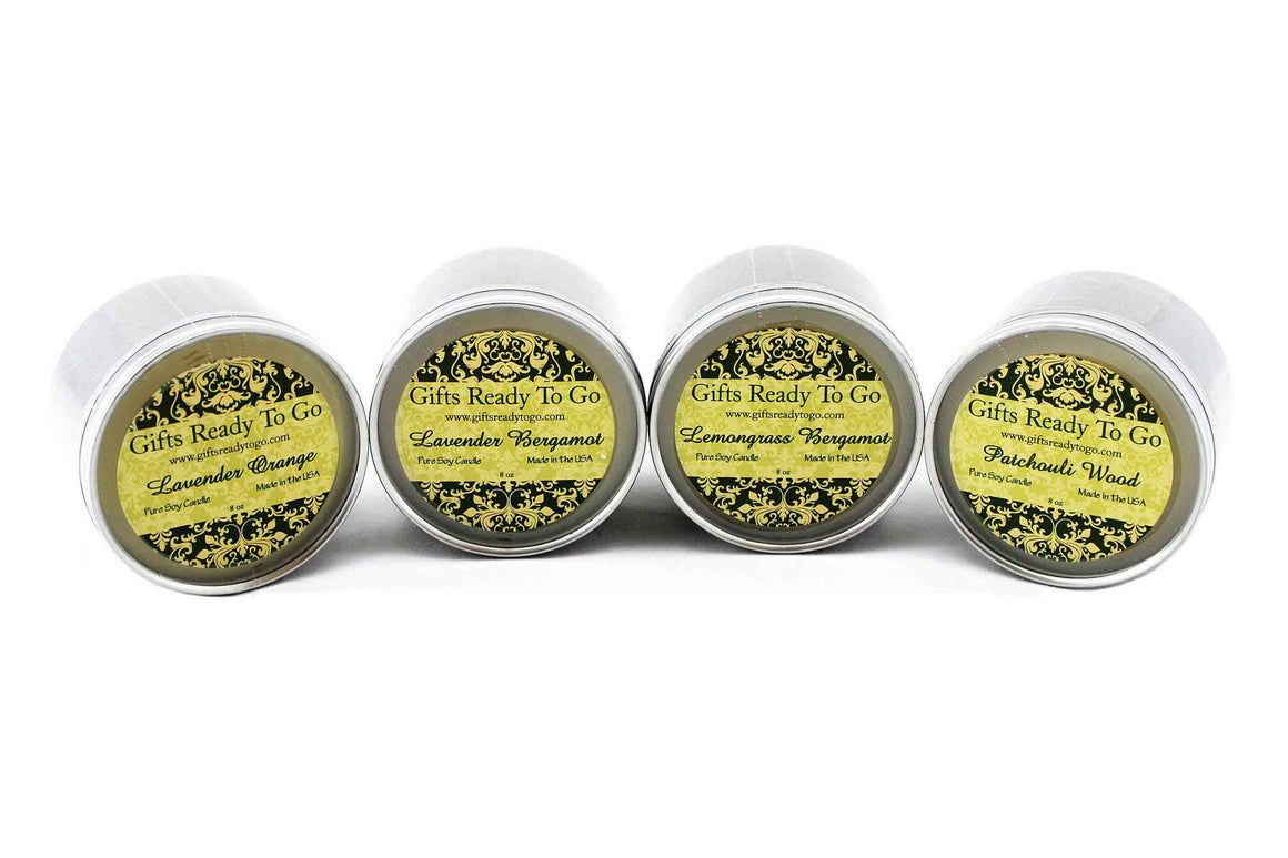 Organic Travel Tin Soy Candles - Pure Essential Oils Gift Set