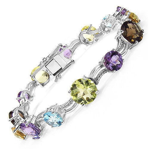 Amethyst and Multi Gemstone Bracelet in Sterling Silver