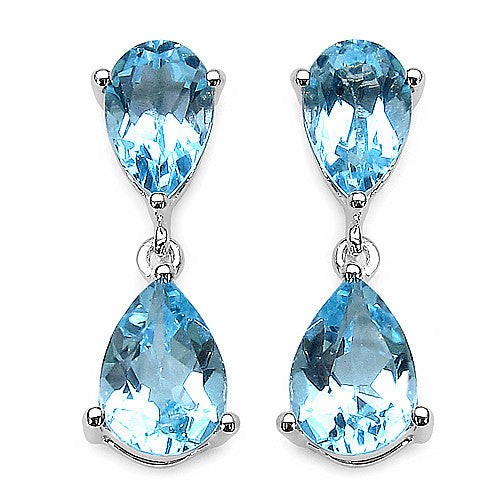 Blue Topaz Earrings in Sterling Silver