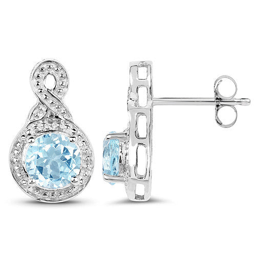 Genuine Blue Topaz Earrings In Sterling Silver Side View