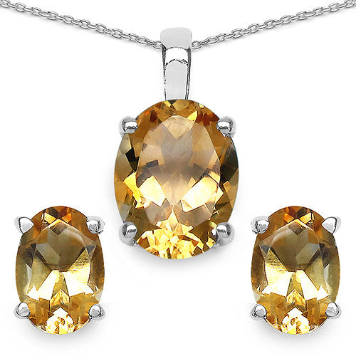 Citrine Pendant and Earrings Set In Sterling Silver
