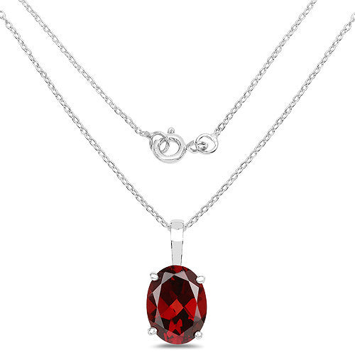 Garnet Pendant and Earrings Set In Sterling Silver Picture 2