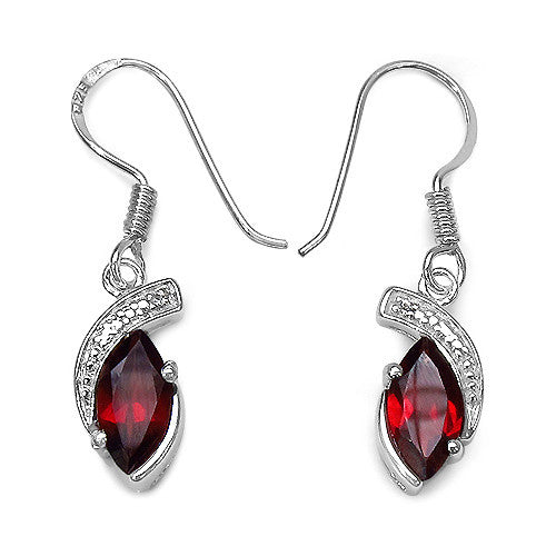 Garnet and White Topaz Earrings in Sterling Silver