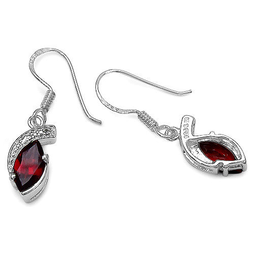 Garnet and White Topaz Earrings in Sterling Silver Picture 2