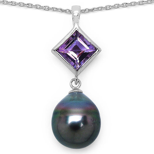 Amethyst and Tahitian Pearl Pendant With Chain In Sterling Silver