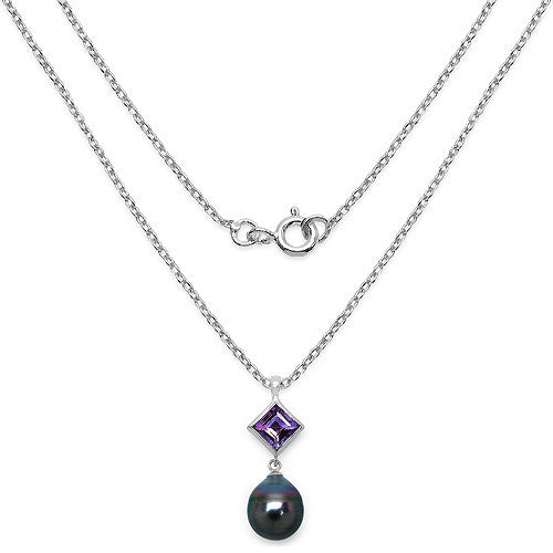Amethyst and Tahitian Pearl Pendant With Chain In Sterling Silver Picture 2