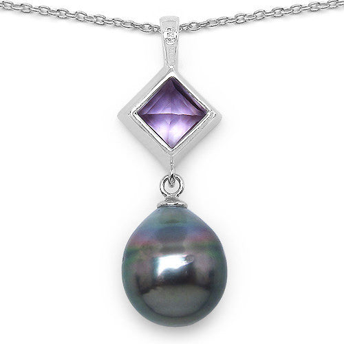 Amethyst and Tahitian Pearl Pendant With Chain In Sterling Silver Picture 3